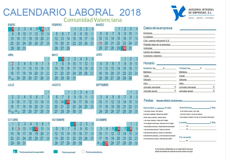 Calendario Laboral De Valencia.Que Dias Son Festivos En La Comunidad Valenciana En 2018